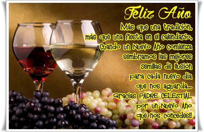 Imagenes de copas y uvas con mensaje brindis año nuevo