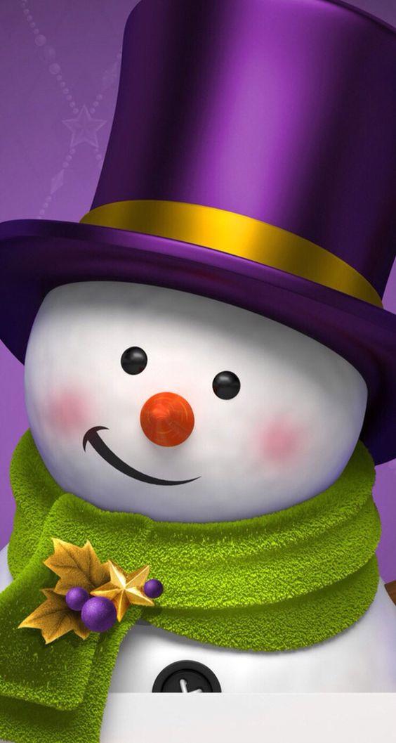 Muñeco de nieve navideño para fondo de celular