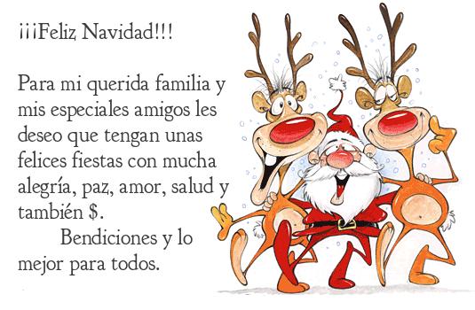 Postal de navidad con renos y Santa