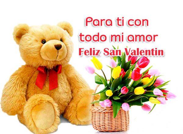 Imagenes de ositos y flores con mensajes para regalar el dia de San Valentín
