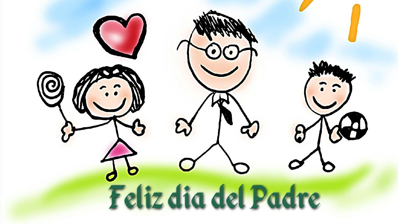 Feliz día papá con dibujos de niños
