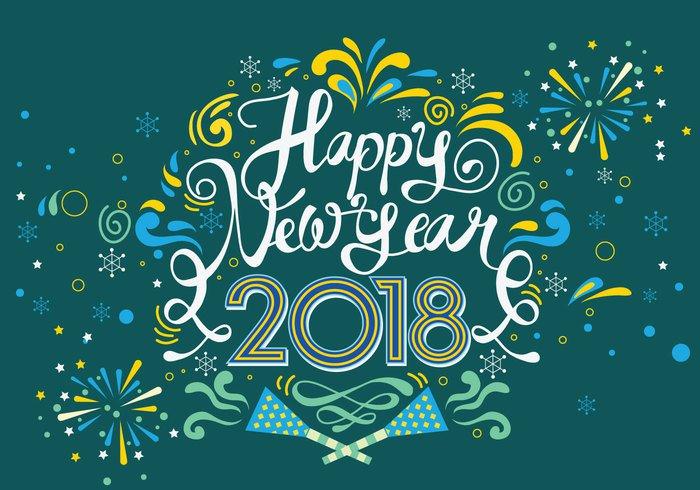 Cartel feliz año nuevo 2018 para perfil