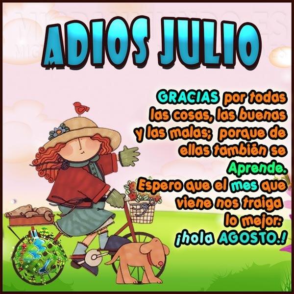 Mensajes adios julio Hola agosto para compartir en facebook