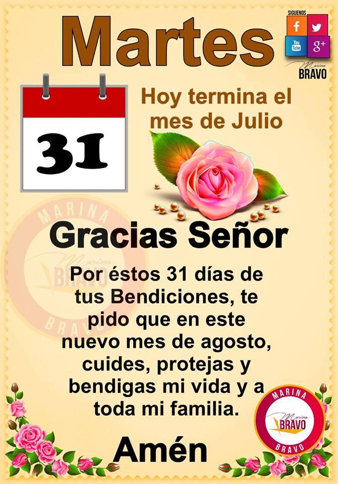 Oración para dar la despedida a Julio  y bienvenida a Agosto
